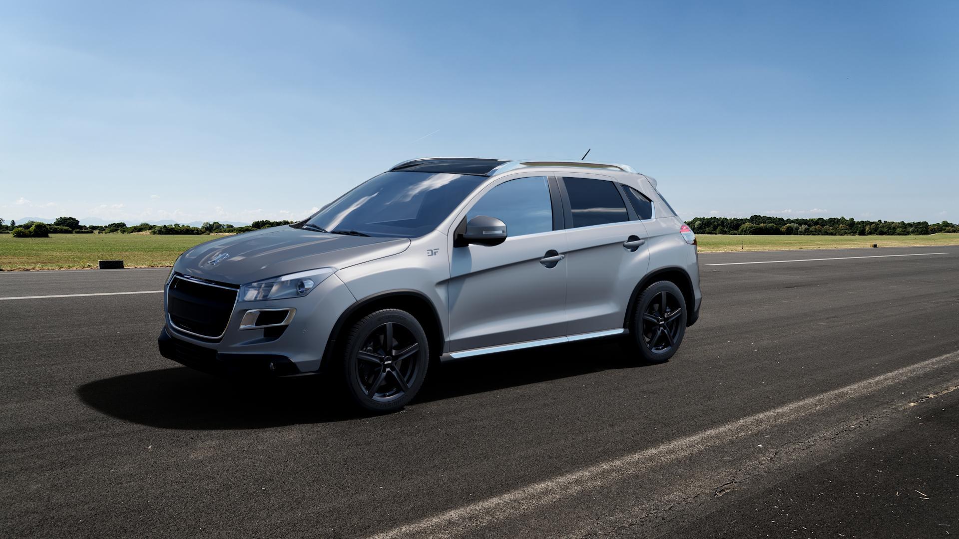ALUTEC Grip graphit Felge mit Reifen grau in 17Zoll Winterfelge Alufelge auf silbernem Peugeot 4008 ⬇️ mit 15mm Tieferlegung ⬇️ Big_Vehicle_Airstrip_1 Frontansicht_1