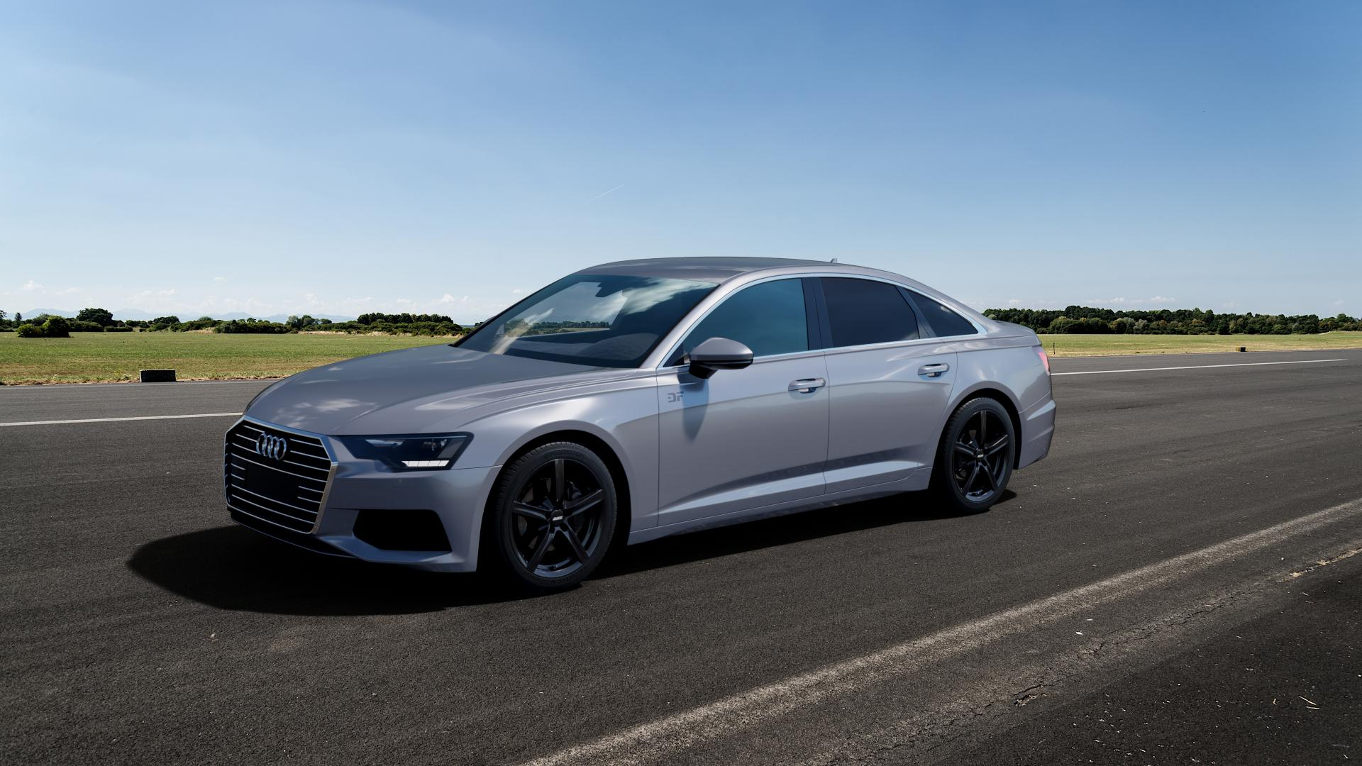 ALUTEC Grip graphit Felge mit Reifen grau in 18Zoll Winterfelge Alufelge auf silbernem Audi A6 Typ F2/C8 (Limousine) ⬇️ mit 15mm Tieferlegung ⬇️ Big_Vehicle_Airstrip_1 Frontansicht_1