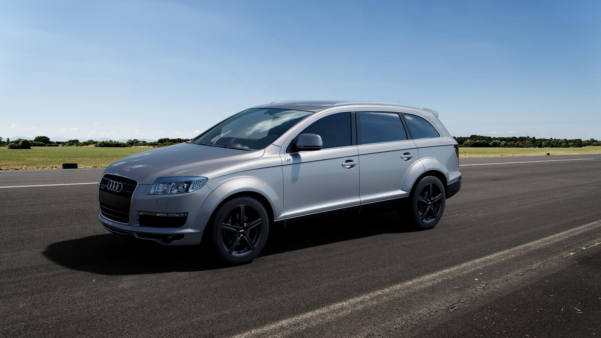 ALUTEC Grip graphit Felge mit Reifen grau in 18Zoll Winterfelge Alufelge auf silbernem Audi Q7 I Typ 4L ⬇️ mit 15mm Tieferlegung ⬇️ Big_Vehicle_Airstrip_1 Frontansicht_1