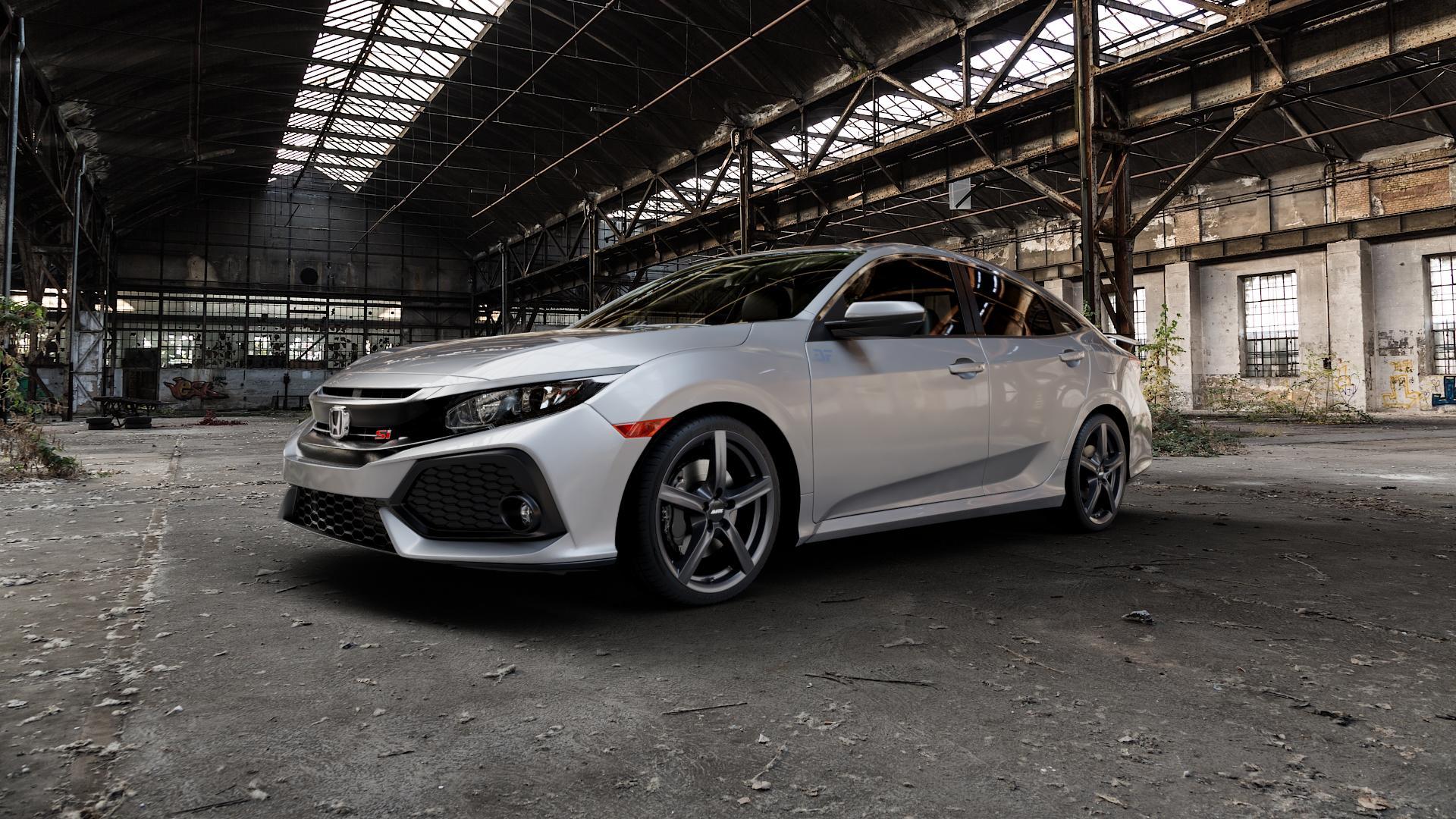 ALUTEC Grip graphit Felge mit Reifen grau in 18Zoll Winterfelge Alufelge auf silbernem Honda Civic 10 Schrägheck (FC) ⬇️ mit 15mm Tieferlegung ⬇️ Industriehalle 1 Camera_000