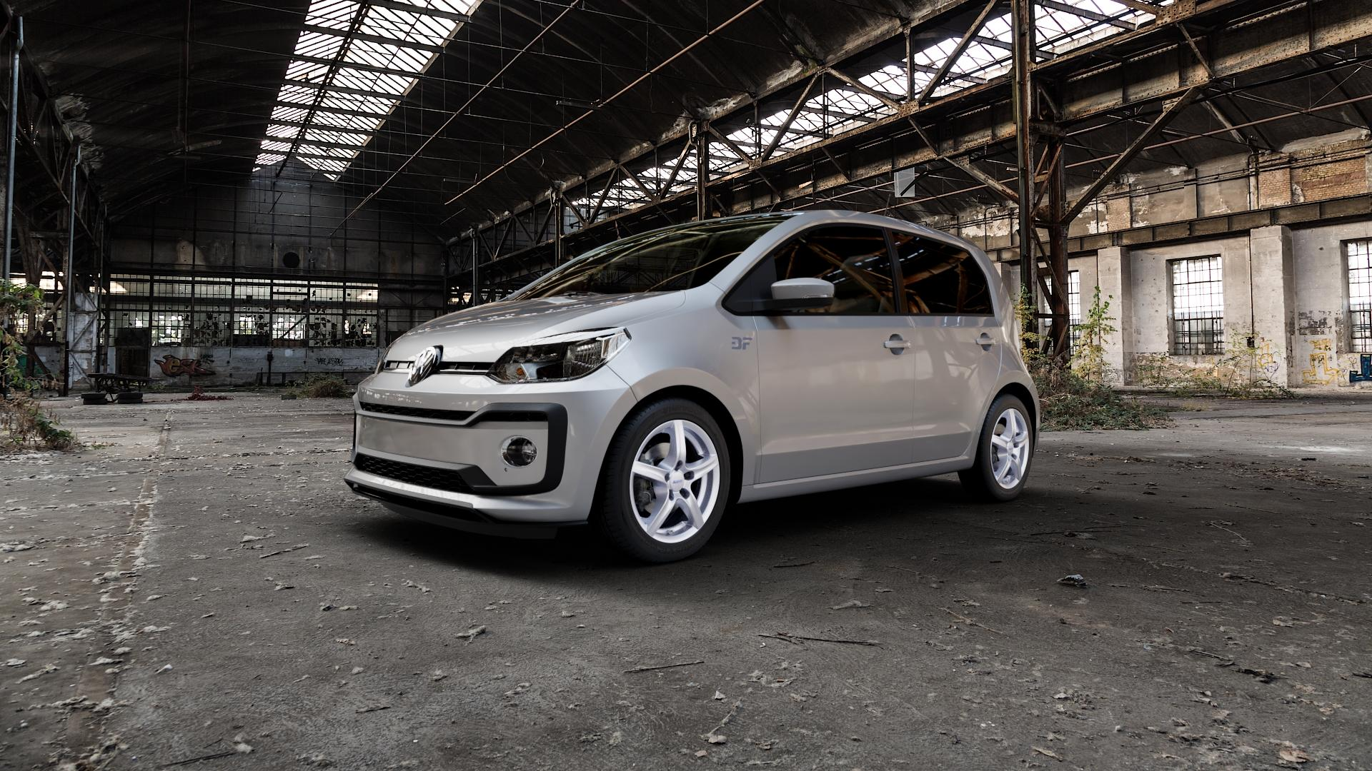 ALUTEC Grip polar-silber Felge mit Reifen in 15Zoll Winterfelge Alufelge auf silbernem Volkswagen (VW) UP Facelift 1,0l 44kW (60 PS) 55kW (75 eco-Up 50kW (68 TSI 66kW (90 85kW GTi (116 ⬇️ mit 15mm Tieferlegung ⬇️ Industriehalle 1 Camera_000