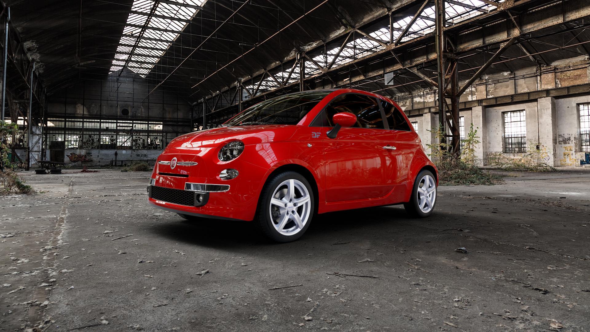 ALUTEC Grip polar-silber Felge mit Reifen in 16Zoll Winterfelge Alufelge auf rotem Fiat 500 Typ 312 Cabrio Facelift ⬇️ mit 15mm Tieferlegung ⬇️ Industriehalle 1 Camera_000