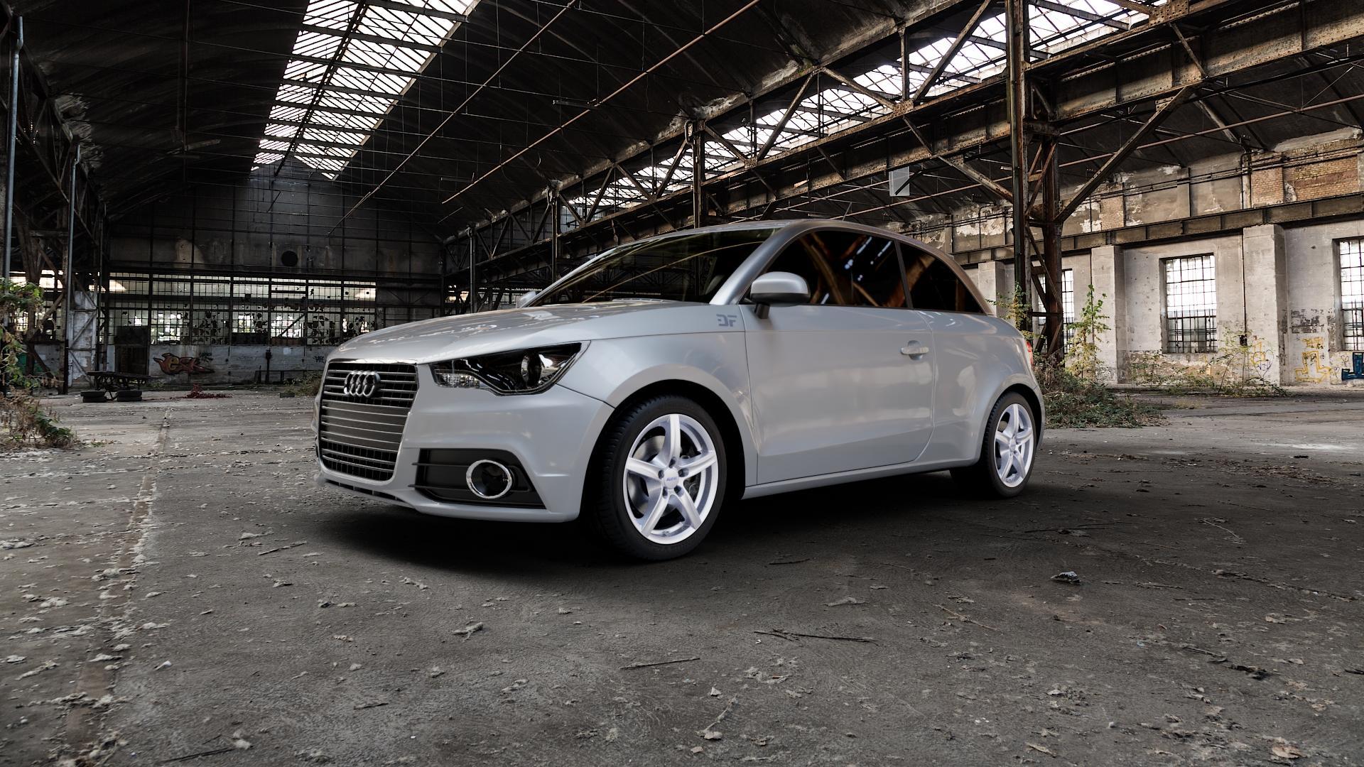 ALUTEC Grip polar-silber Felge mit Reifen in 16Zoll Winterfelge Alufelge auf silbernem Audi A1 Typ 8X ⬇️ mit 15mm Tieferlegung ⬇️ Industriehalle 1 Camera_000