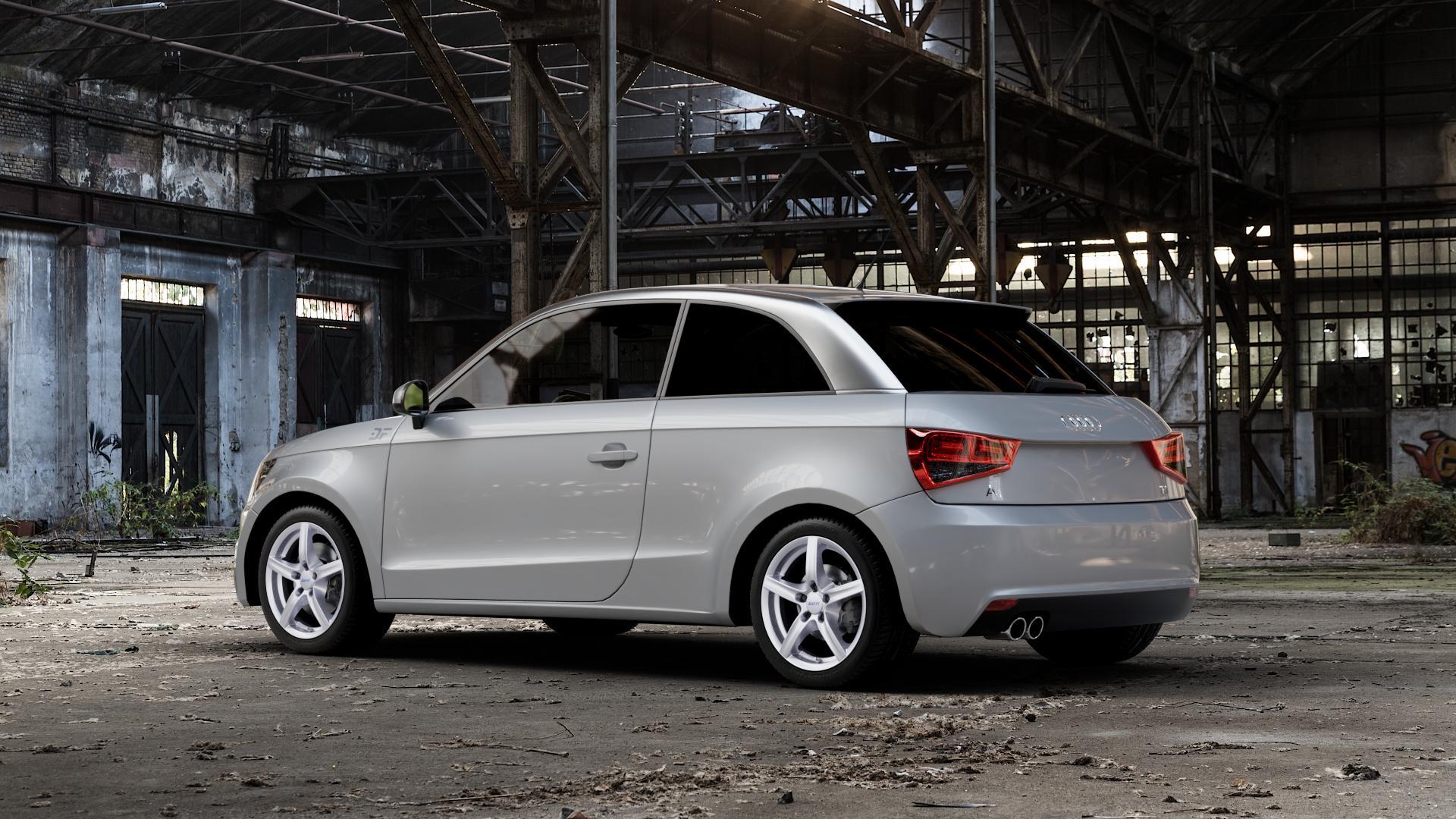 ALUTEC Grip polar-silber Felge mit Reifen in 16Zoll Winterfelge Alufelge auf silbernem Audi A1 Typ 8X ⬇️ mit 15mm Tieferlegung ⬇️ Industriehalle 1 Camera_001