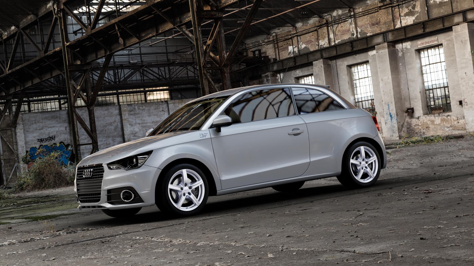ALUTEC Grip polar-silber Felge mit Reifen in 16Zoll Winterfelge Alufelge auf silbernem Audi A1 Typ 8X ⬇️ mit 15mm Tieferlegung ⬇️ Industriehalle 1 Camera_002