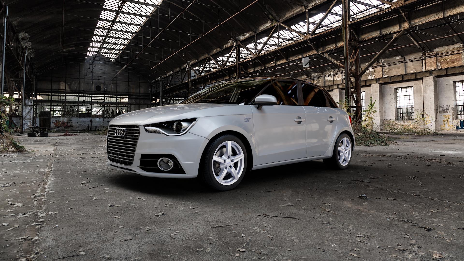 ALUTEC Grip polar-silber Felge mit Reifen in 16Zoll Winterfelge Alufelge auf silbernem Audi A1 Typ 8X (Sportback) ⬇️ mit 15mm Tieferlegung ⬇️ Industriehalle 1 Camera_000