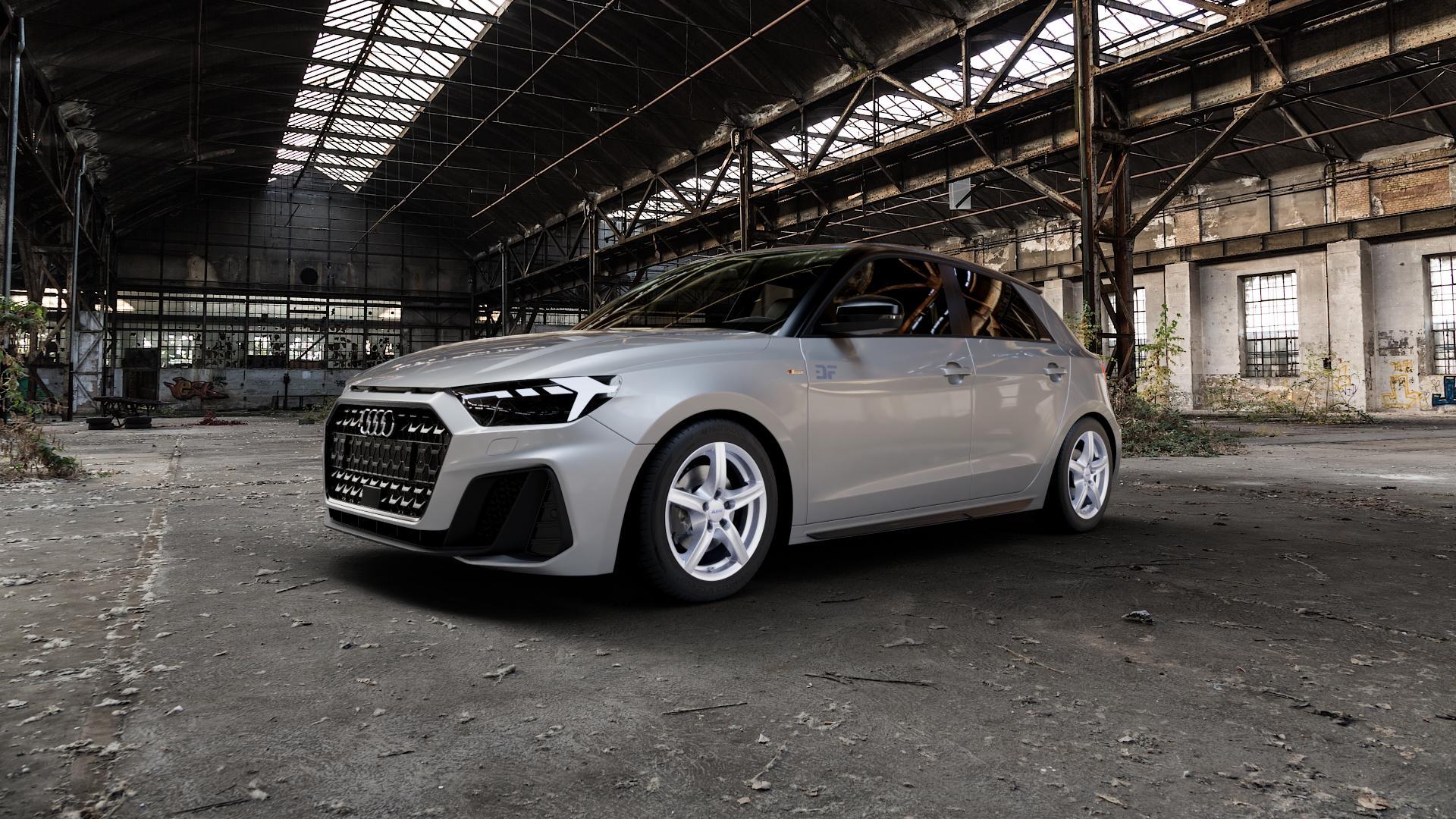 ALUTEC Grip polar-silber Felge mit Reifen in 16Zoll Winterfelge Alufelge auf silbernem Audi A1 Typ GB (Sportback) ⬇️ mit 15mm Tieferlegung ⬇️ Industriehalle 1 Camera_000