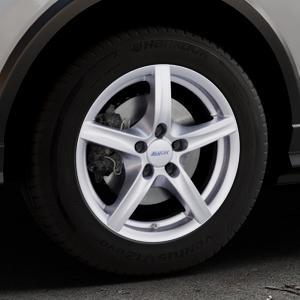 ALUTEC Grip polar-silber Felge mit Reifen in 16Zoll Winterfelge Alufelge auf silbernem Audi Q2 Typ GA ⬇️ mit 15mm Tieferlegung ⬇️ Industriehalle 1 Thumbnail