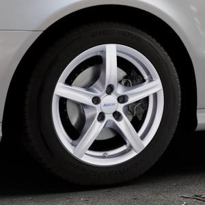 ALUTEC Grip polar-silber Felge mit Reifen in 16Zoll Winterfelge Alufelge auf silbernem Mercedes E-Klasse Typ W211 Limousine ⬇️ mit 15mm Tieferlegung ⬇️ Industriehalle 1 Thumbnail