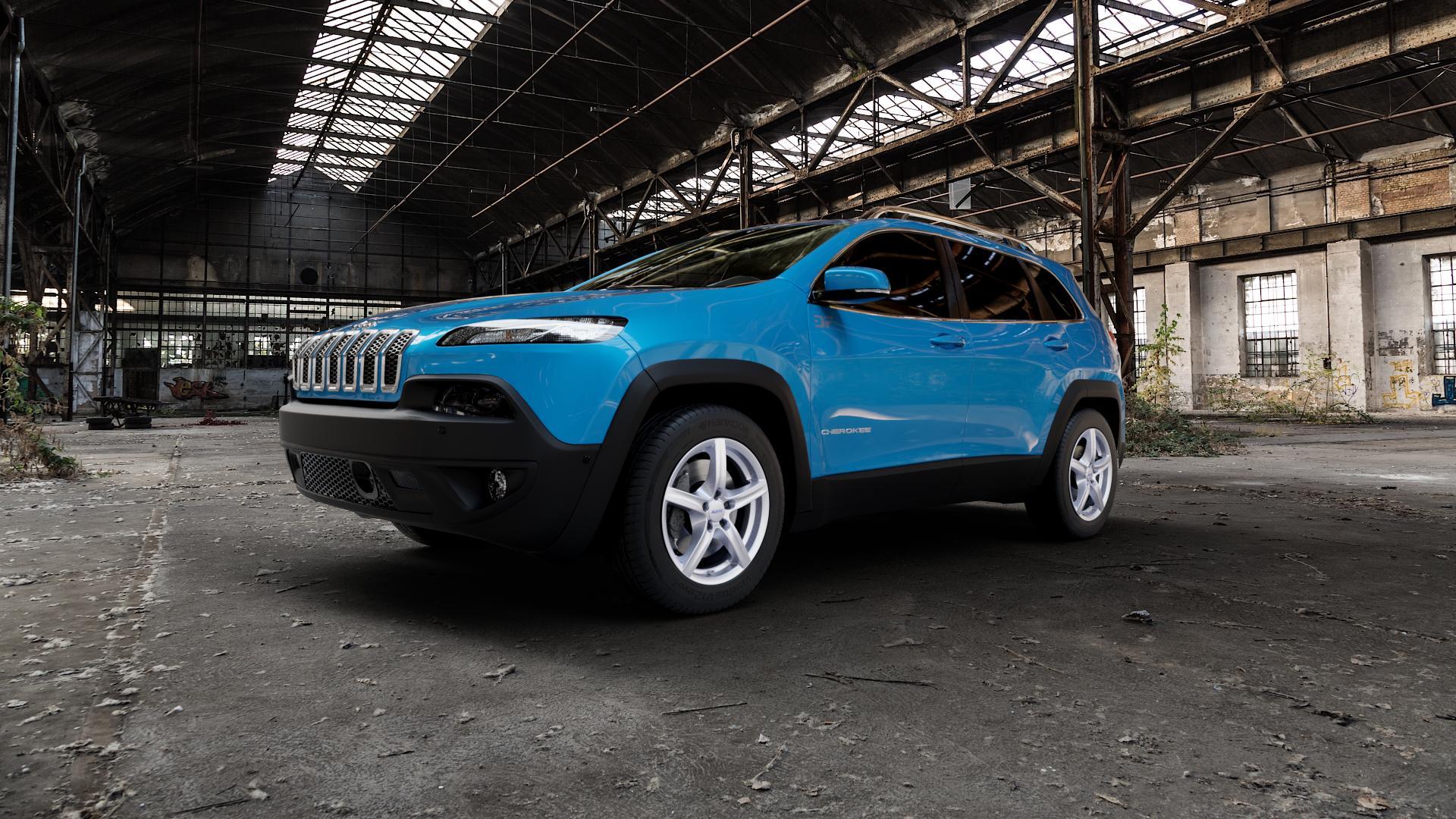 ALUTEC Grip polar-silber Felge mit Reifen in 17Zoll Winterfelge Alufelge auf hellblau Jeep Cherokee Typ KL Trailhawk ⬇️ mit 15mm Tieferlegung ⬇️ Industriehalle 1 Camera_000