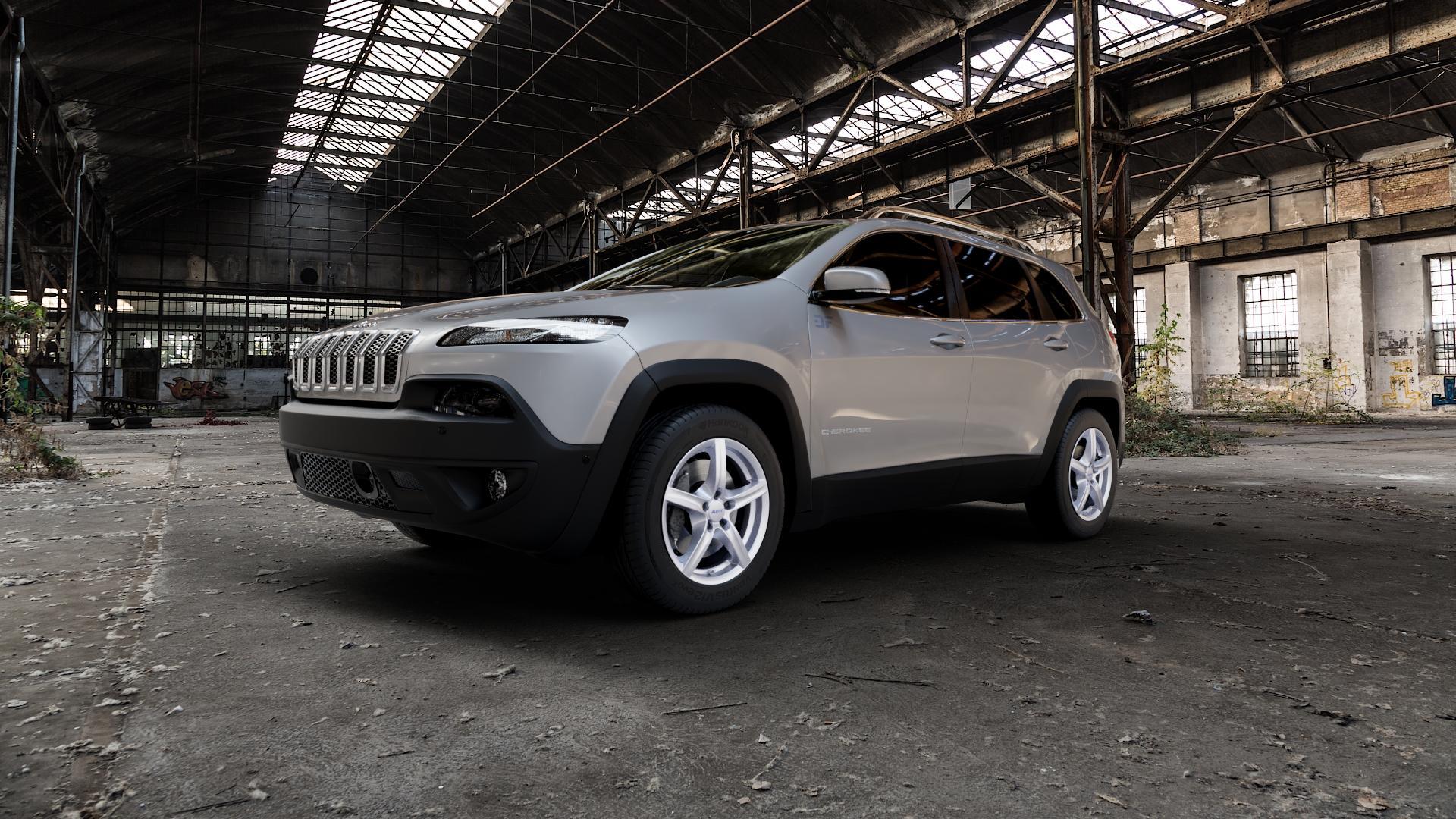 ALUTEC Grip polar-silber Felge mit Reifen in 17Zoll Winterfelge Alufelge auf silbernem Jeep Cherokee Typ KL Trailhawk ⬇️ mit 15mm Tieferlegung ⬇️ Industriehalle 1 Camera_000