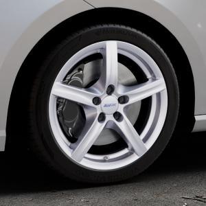 ALUTEC Grip polar-silber Felge mit Reifen in 17Zoll Winterfelge Alufelge auf silbernem Seat Ibiza V Typ KJ ⬇️ mit 15mm Tieferlegung ⬇️ Industriehalle 1 Thumbnail