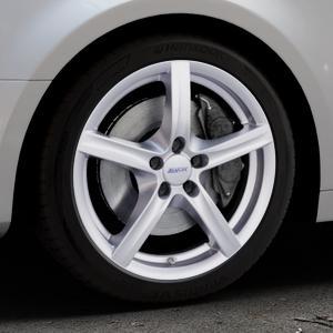 ALUTEC Grip polar-silber Felge mit Reifen in 18Zoll Winterfelge Alufelge auf silbernem Audi A4 Typ B9 (Limousine) ⬇️ mit 15mm Tieferlegung ⬇️ Industriehalle 1 Thumbnail