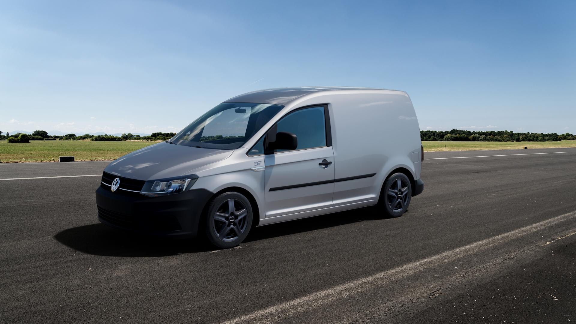 ALUTEC Grip Transporter graphit Felge mit Reifen grau in 16Zoll Winterfelge Alufelge auf silbernem Volkswagen (VW) Caddy 4 ⬇️ mit 15mm Tieferlegung ⬇️ Big_Vehicle_Airstrip_1 Frontansicht_1