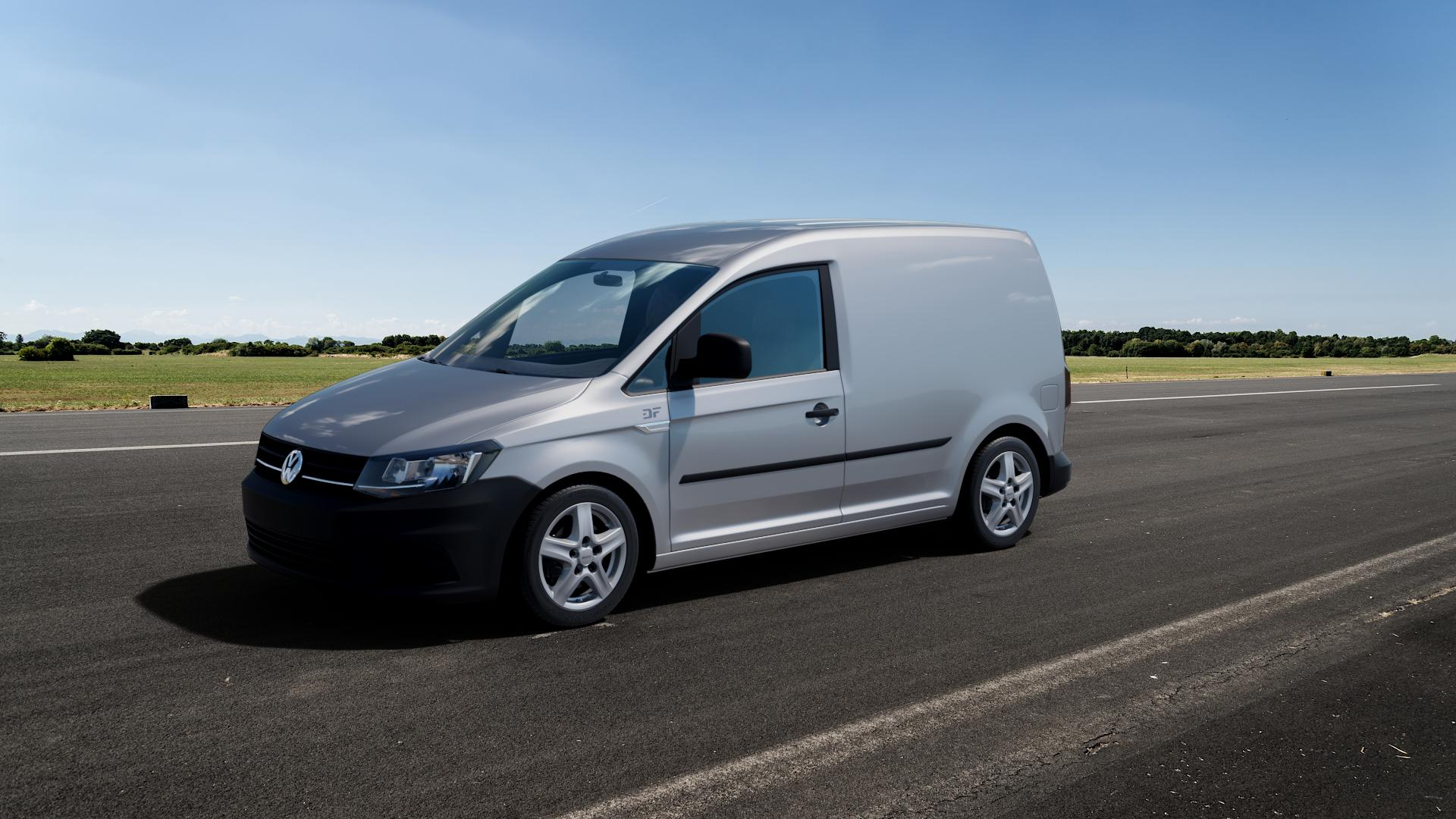 ALUTEC Grip Transporter polar-silber Felge mit Reifen in 16Zoll Winterfelge Alufelge auf silbernem Volkswagen (VW) Caddy 4 ⬇️ mit 15mm Tieferlegung ⬇️ Big_Vehicle_Airstrip_1 Frontansicht_1