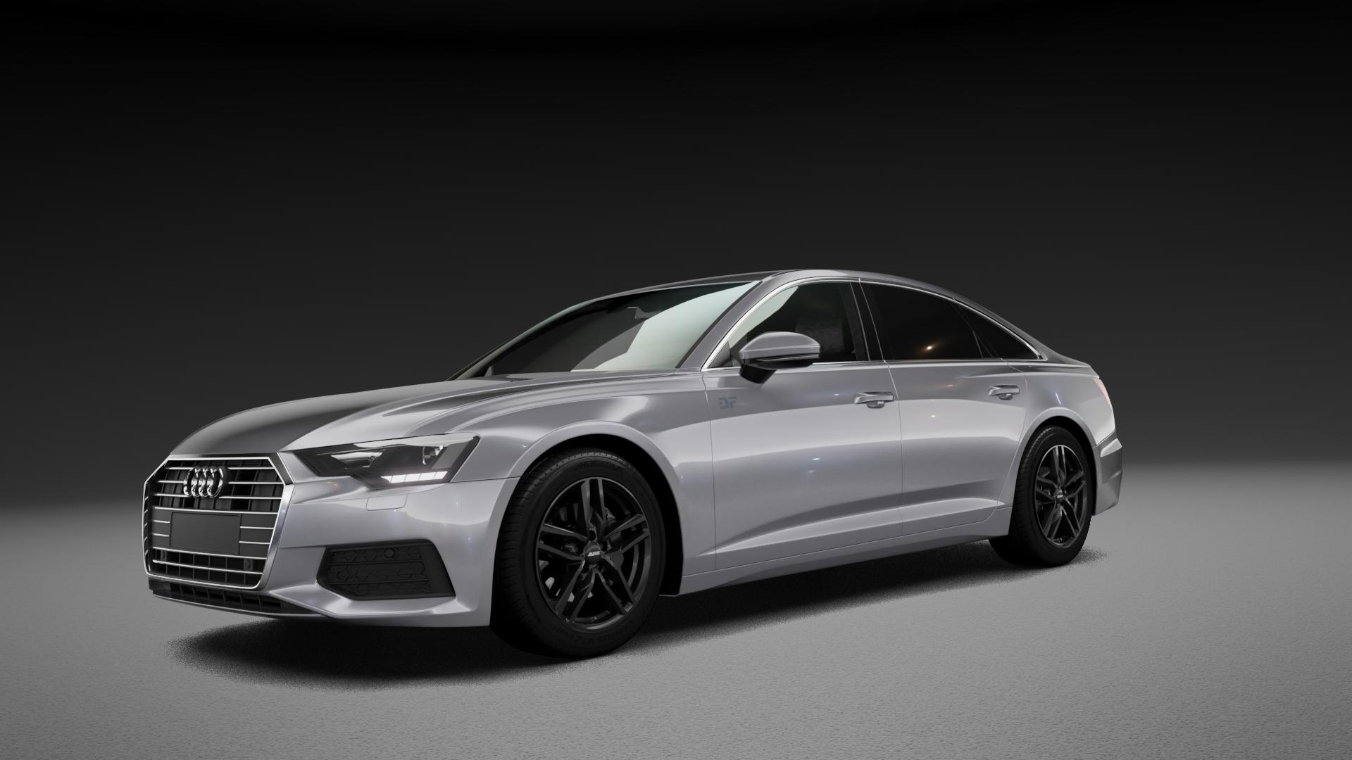 ALUTEC Ikenu diamant-schwarz Felge mit Reifen in 18Zoll Winterfelge Alufelge auf silbernem Audi A6 Typ F2/C8 (Limousine) ⬇️ mit 15mm Tieferlegung ⬇️ Neutral_mid_max5300mm Frontansicht_1