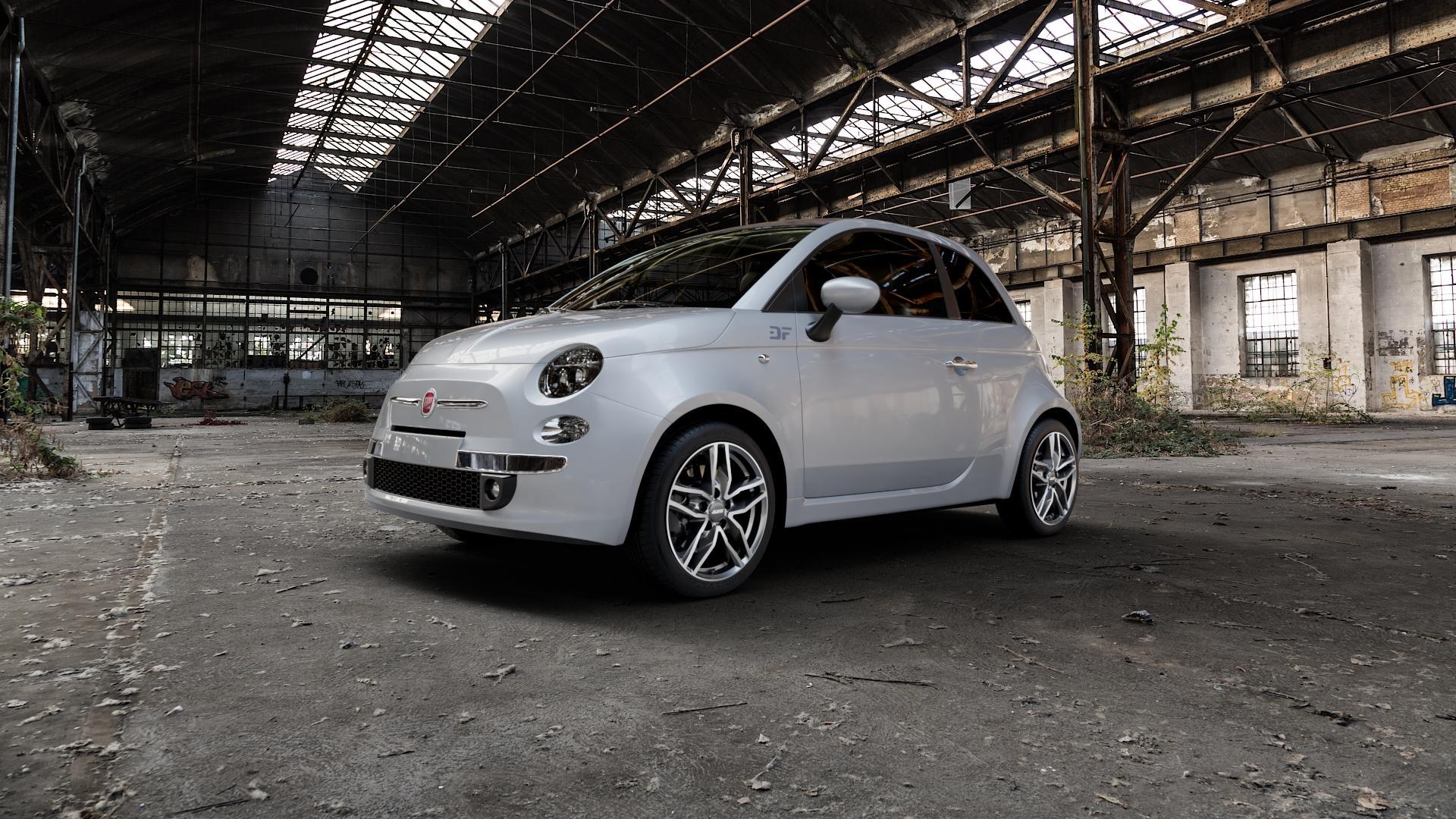 ALUTEC Ikenu graphit frontpoliert Felge mit Reifen grau mehrfarbig in 16Zoll Alufelge auf silbernem Fiat 500 Typ 312 Cabrio Facelift ⬇️ mit 15mm Tieferlegung ⬇️ Industriehalle 1 Camera_000