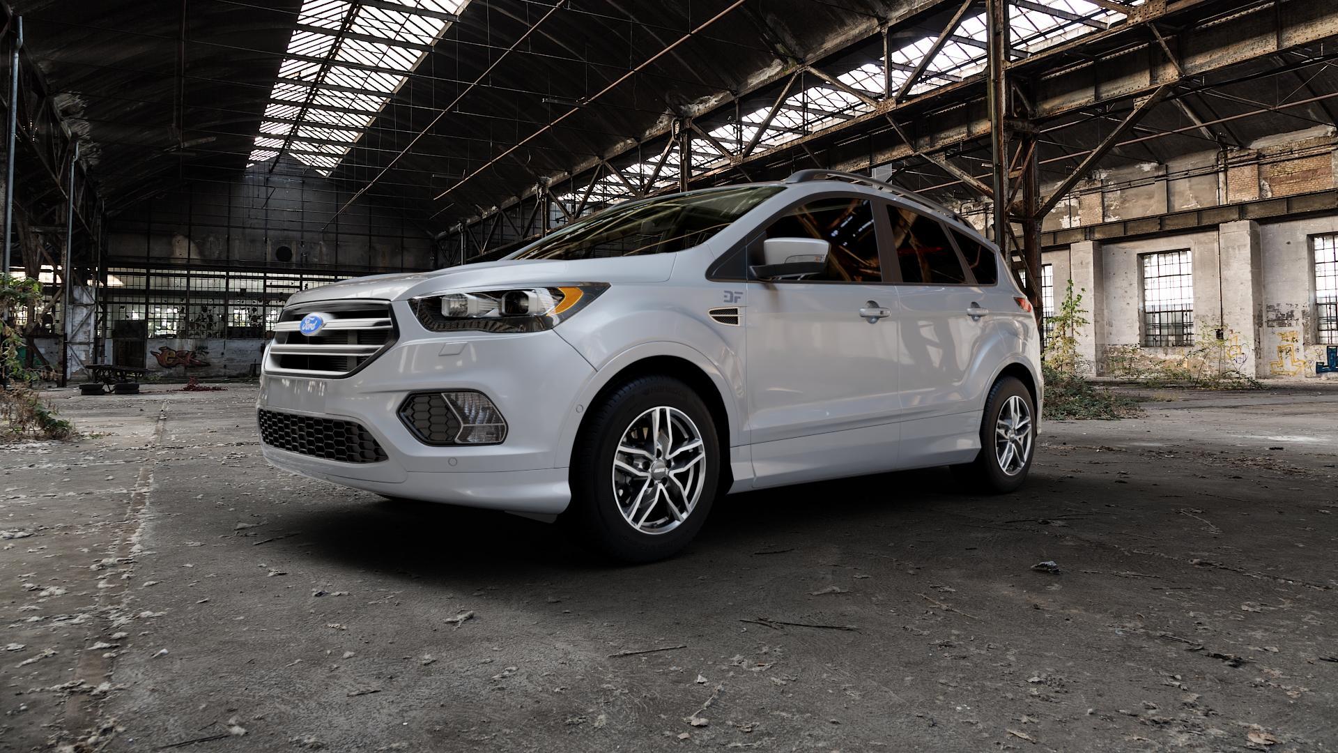 ALUTEC Ikenu graphit frontpoliert Felge mit Reifen grau mehrfarbig in 16Zoll Alufelge auf silbernem Ford Kuga II Facelift (15->) (17->) ⬇️ mit 15mm Tieferlegung ⬇️ Industriehalle 1 Camera_000