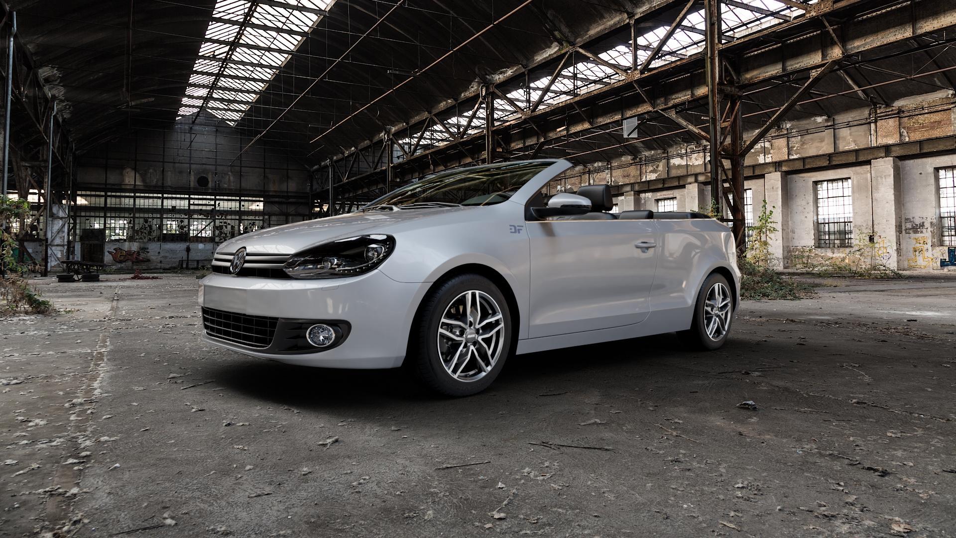 ALUTEC Ikenu graphit frontpoliert Felge mit Reifen grau mehrfarbig in 16Zoll Alufelge auf silbernem Volkswagen (VW) Golf 6 Cabrio ⬇️ mit 15mm Tieferlegung ⬇️ Industriehalle 1 Camera_000