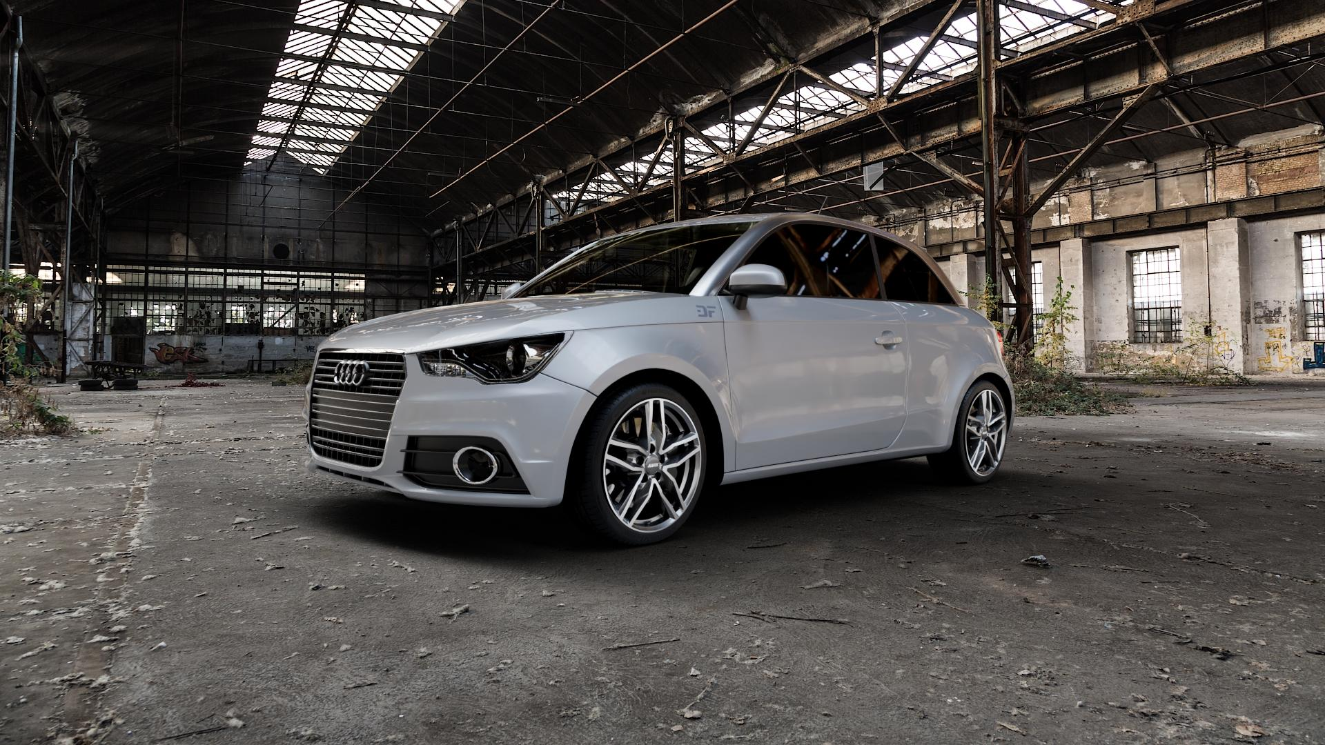 ALUTEC Ikenu graphit frontpoliert Felge mit Reifen grau mehrfarbig in 17Zoll Alufelge auf silbernem Audi A1 Typ 8X ⬇️ mit 15mm Tieferlegung ⬇️ Industriehalle 1 Camera_000