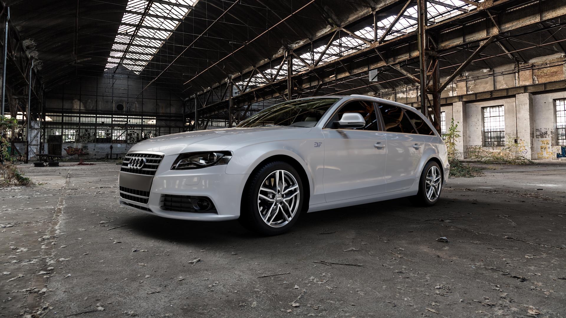 ALUTEC Ikenu graphit frontpoliert Felge mit Reifen grau mehrfarbig in 17Zoll Alufelge auf silbernem Audi A4 Typ 8K5/B8 (Avant) ⬇️ mit 15mm Tieferlegung ⬇️ Industriehalle 1 Camera_000