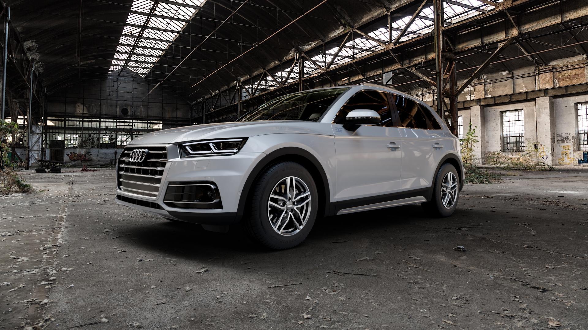 ALUTEC Ikenu graphit frontpoliert Felge mit Reifen grau mehrfarbig in 17Zoll Alufelge auf silbernem Audi Q5 II Typ FY ⬇️ mit 15mm Tieferlegung ⬇️ Industriehalle 1 Camera_000