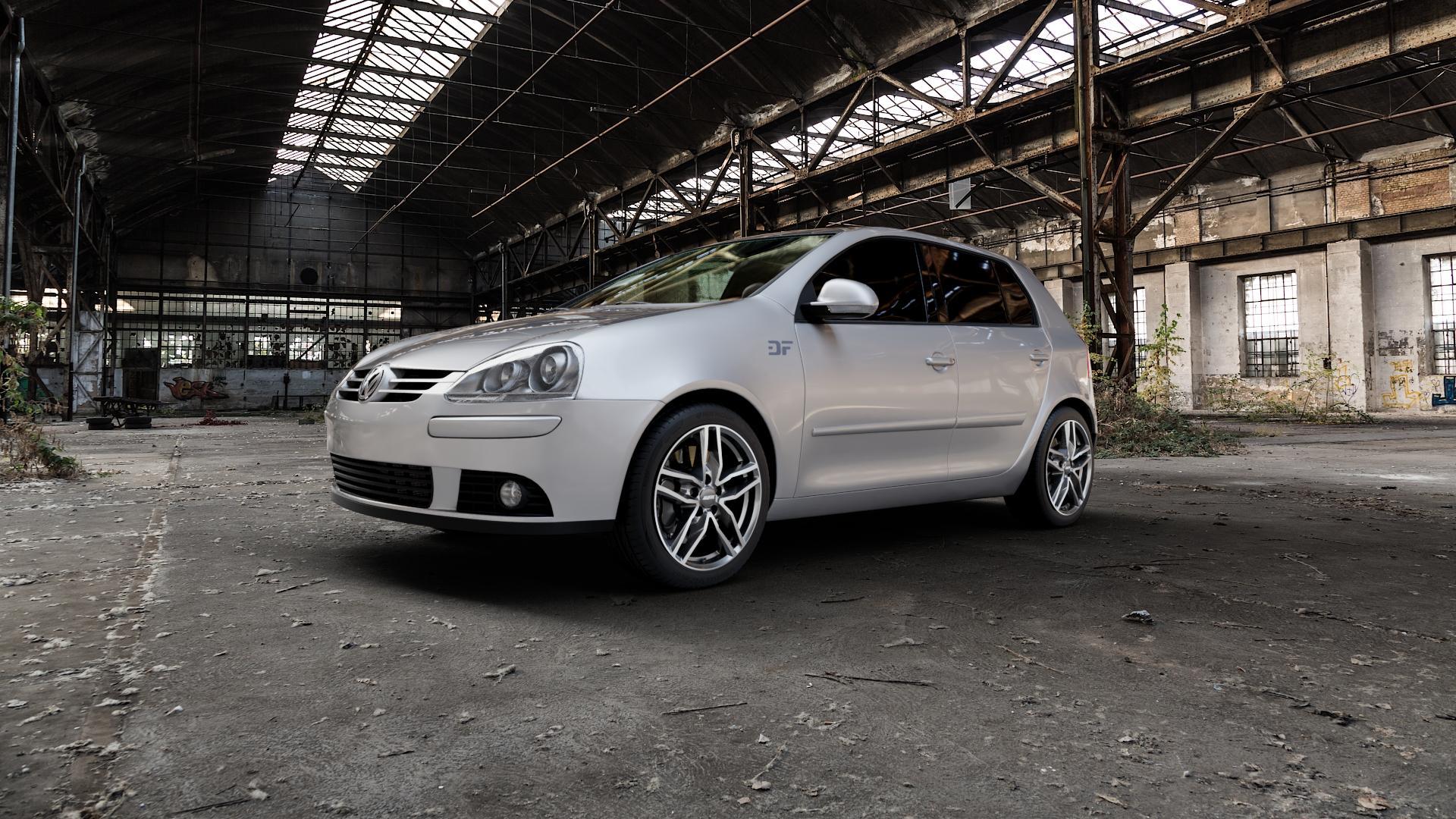ALUTEC Ikenu graphit frontpoliert Felge mit Reifen grau mehrfarbig in 17Zoll Alufelge auf silbernem Volkswagen (VW) Golf 5 Plus ⬇️ mit 15mm Tieferlegung ⬇️ Industriehalle 1 Camera_000