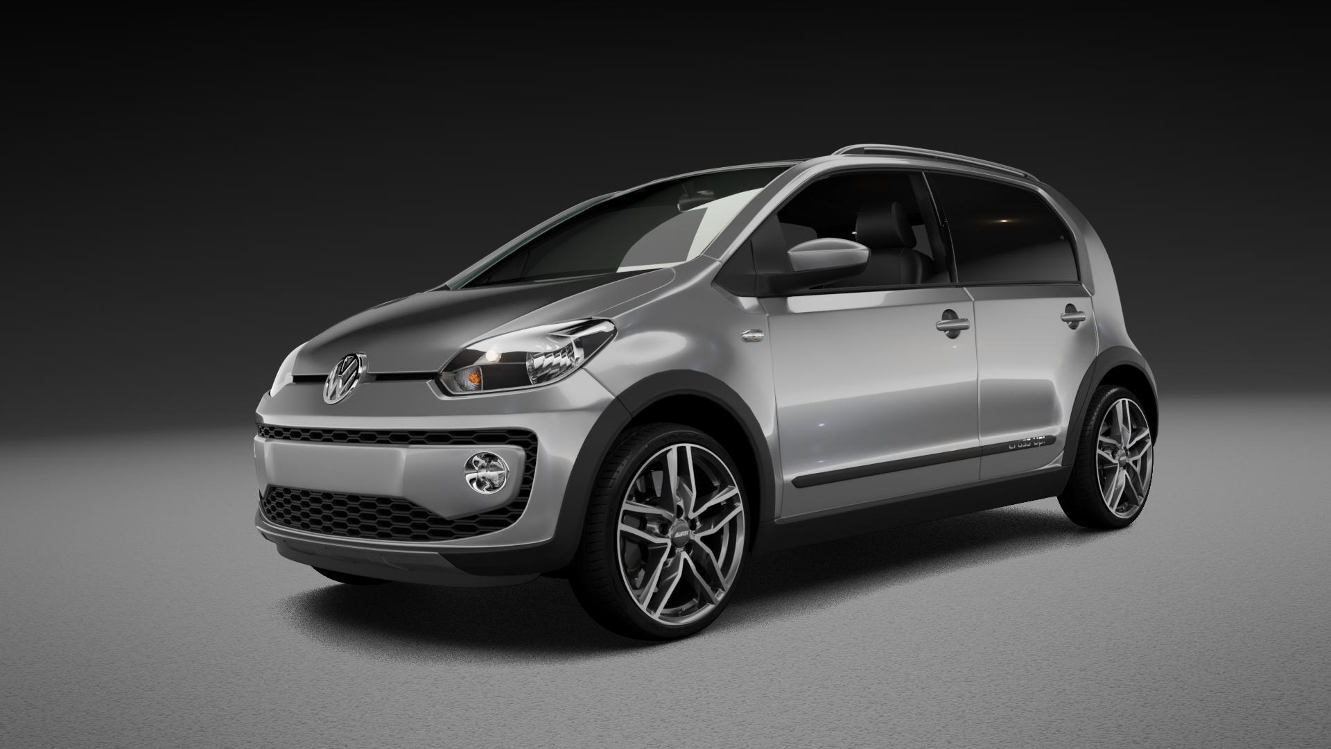 ALUTEC Ikenu graphit frontpoliert Felge mit Reifen grau mehrfarbig in 17Zoll Alufelge auf silbernem Volkswagen (VW) UP Cross ⬇️ mit 15mm Tieferlegung ⬇️ Neutral_near_max4650mm Frontansicht_1