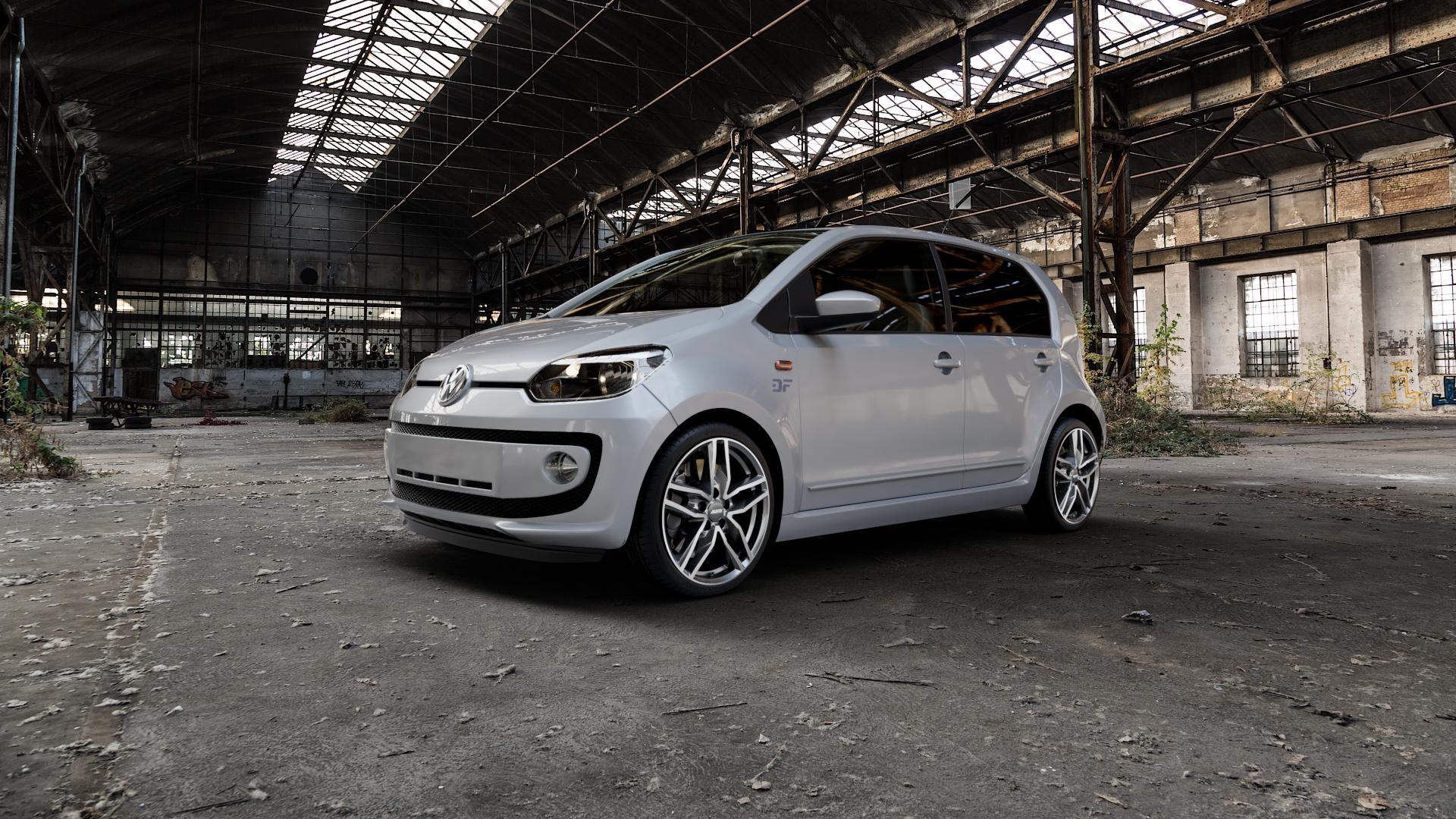 ALUTEC Ikenu graphit frontpoliert Felge mit Reifen grau mehrfarbig in 17Zoll Alufelge auf silbernem Volkswagen (VW) UP ⬇️ mit 15mm Tieferlegung ⬇️ Industriehalle 1 Camera_000