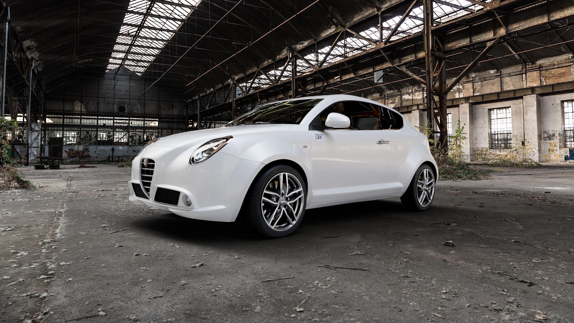 ALUTEC Ikenu graphit frontpoliert Felge mit Reifen grau mehrfarbig in 17Zoll Alufelge auf weissem Alfa Romeo Mito Typ 955 ⬇️ mit 15mm Tieferlegung ⬇️ Industriehalle 1 Camera_000