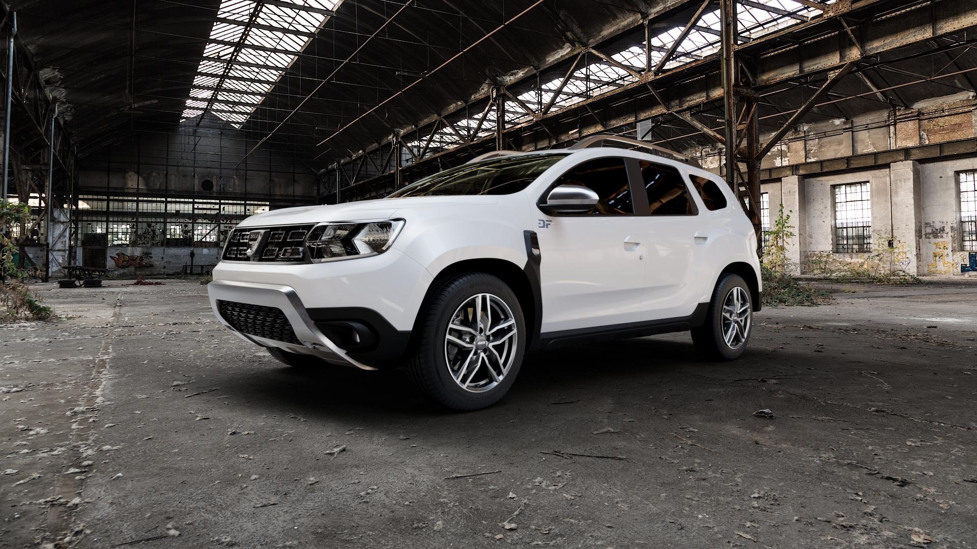 ALUTEC Ikenu graphit frontpoliert Felge mit Reifen grau mehrfarbig in 17Zoll Alufelge auf weissem Dacia Duster Typ SR ⬇️ mit 15mm Tieferlegung ⬇️ Industriehalle 1 Camera_000