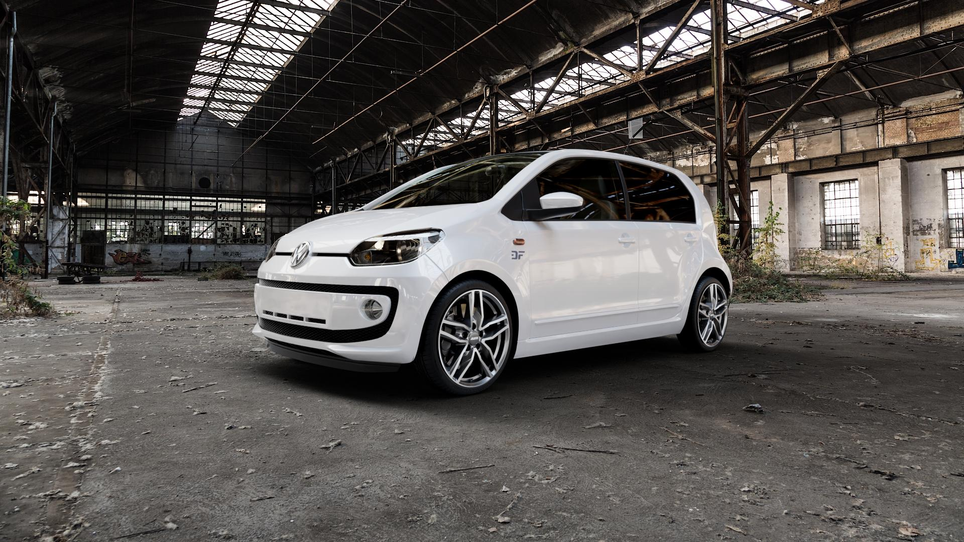 ALUTEC Ikenu graphit frontpoliert Felge mit Reifen grau mehrfarbig in 17Zoll Alufelge auf weissem Volkswagen (VW) UP ⬇️ mit 15mm Tieferlegung ⬇️ Industriehalle 1 Camera_000