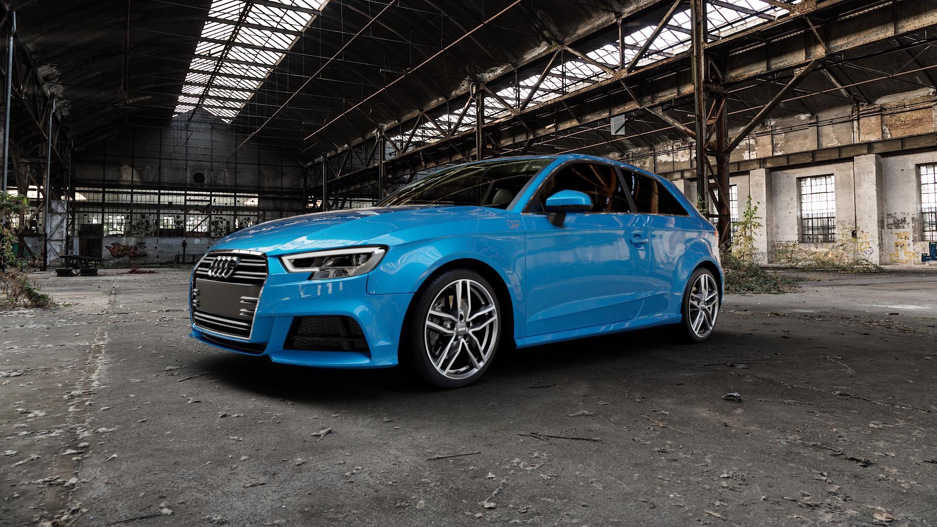 ALUTEC Ikenu graphit frontpoliert Felge mit Reifen grau mehrfarbig in 18Zoll Alufelge auf hellblau Audi A3 Typ 8V Facelift ⬇️ mit 15mm Tieferlegung ⬇️ Industriehalle 1 Camera_000