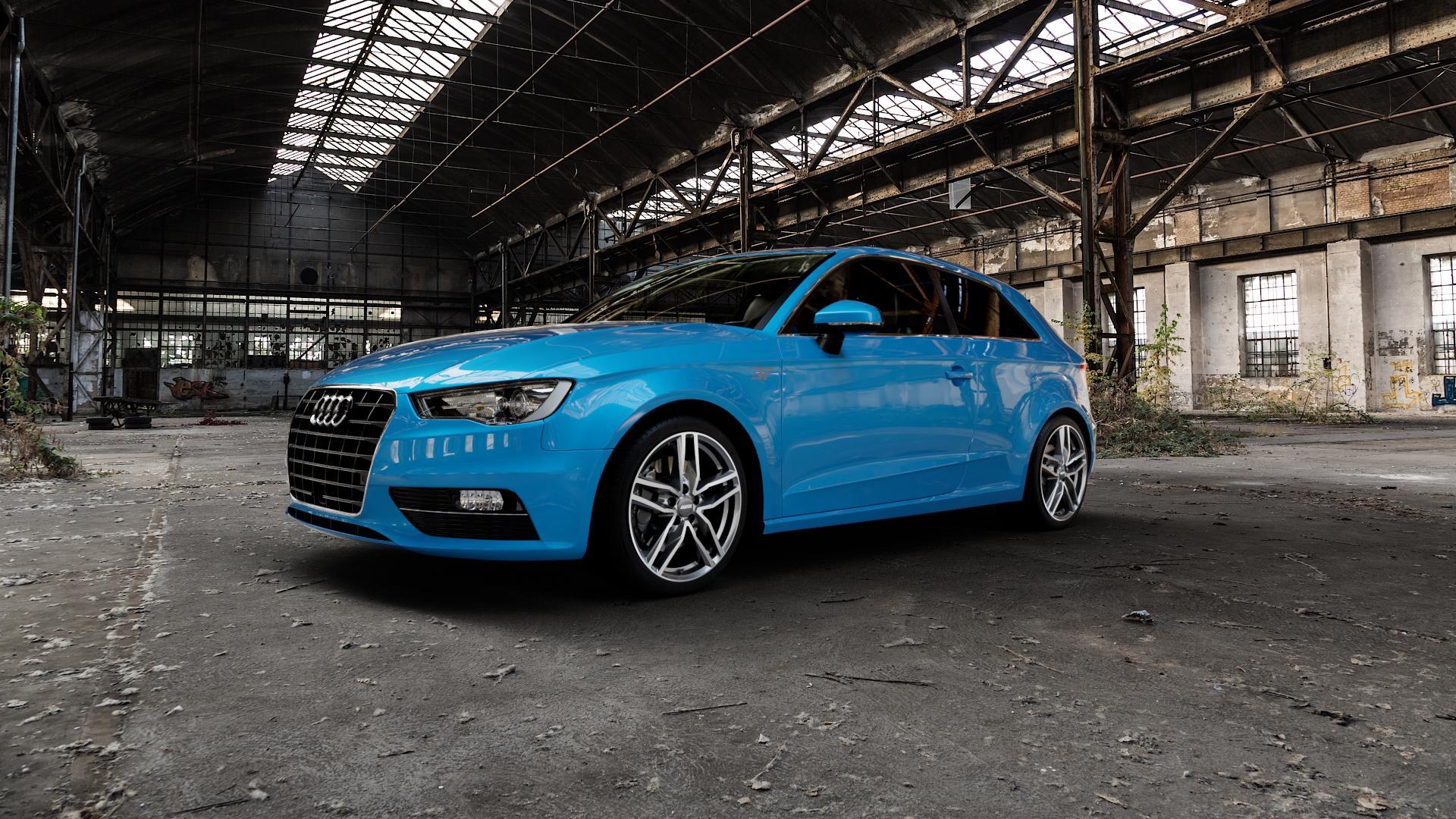 ALUTEC Ikenu graphit frontpoliert Felge mit Reifen grau mehrfarbig in 18Zoll Alufelge auf hellblau Audi A3 Typ 8V ⬇️ mit 15mm Tieferlegung ⬇️ Industriehalle 1 Camera_000