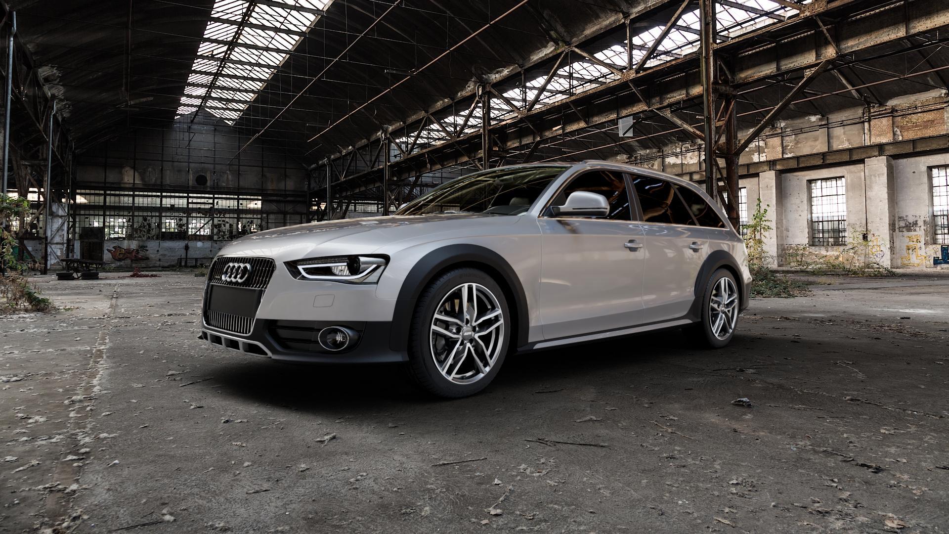 ALUTEC Ikenu graphit frontpoliert Felge mit Reifen grau mehrfarbig in 18Zoll Alufelge auf silbernem Audi A4 Typ 8KH/B8 Allroad ⬇️ mit 15mm Tieferlegung ⬇️ Industriehalle 1 Camera_000