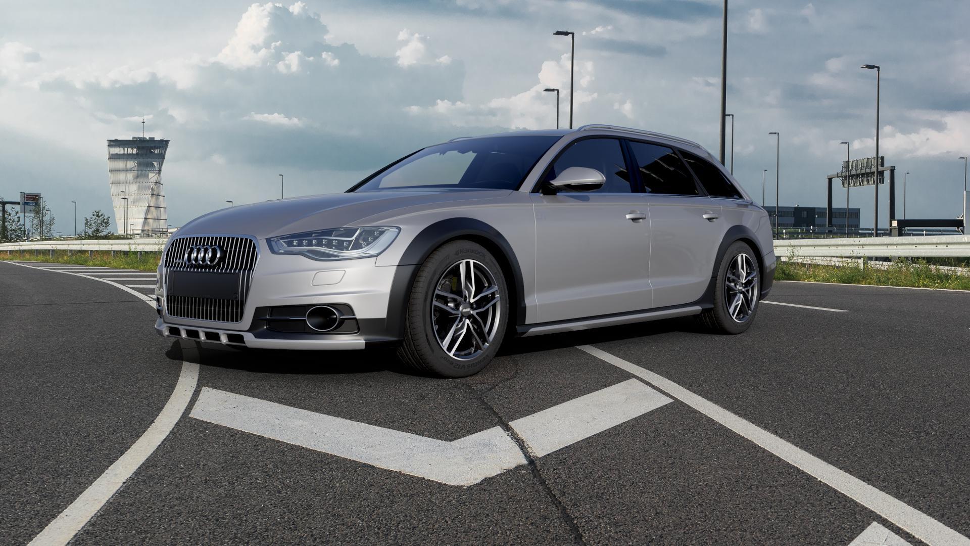ALUTEC Ikenu graphit frontpoliert Felge mit Reifen grau mehrfarbig in 18Zoll Alufelge auf silbernem Audi A6 Allroad Quattro Typ 4G/C7 ⬇️ mit 15mm Tieferlegung ⬇️ Autobahn_1 Camera_000