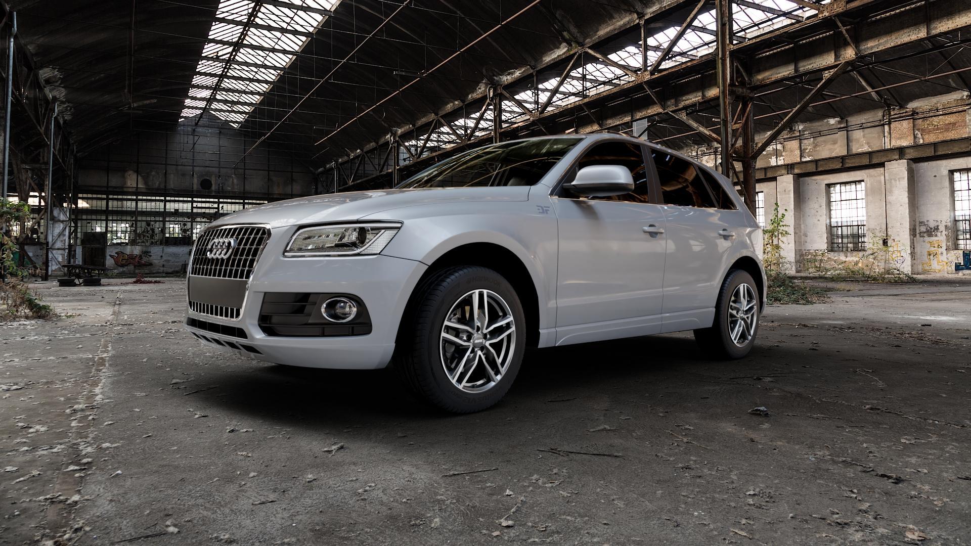 ALUTEC Ikenu graphit frontpoliert Felge mit Reifen grau mehrfarbig in 18Zoll Alufelge auf silbernem Audi Q5 I Typ 8R ⬇️ mit 15mm Tieferlegung ⬇️ Industriehalle 1 Camera_000