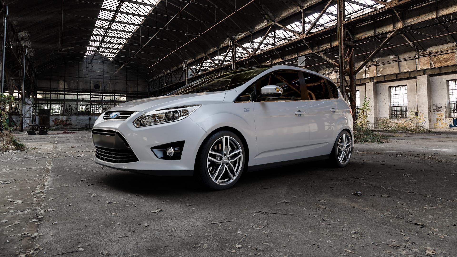 ALUTEC Ikenu graphit frontpoliert Felge mit Reifen grau mehrfarbig in 18Zoll Alufelge auf silbernem Ford C-Max II Typ DXA (10->) ⬇️ mit 15mm Tieferlegung ⬇️ Industriehalle 1 Camera_000