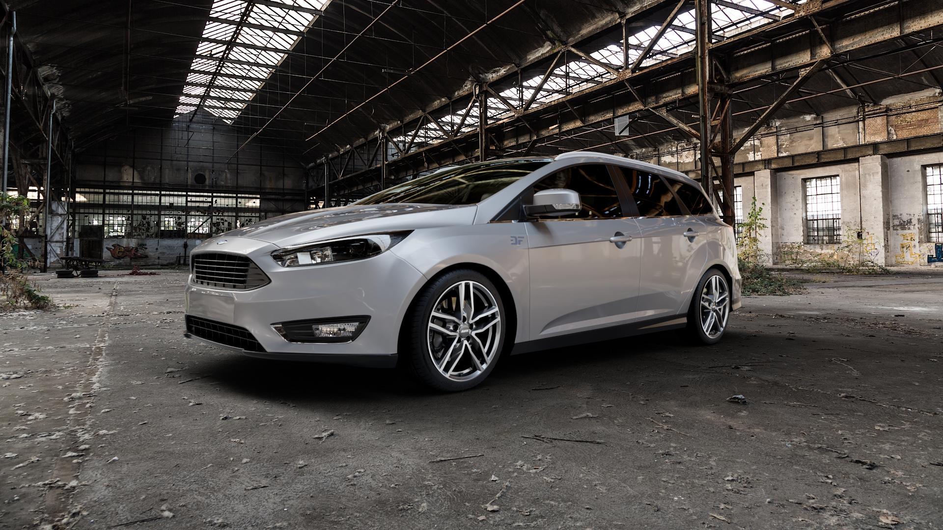 ALUTEC Ikenu graphit frontpoliert Felge mit Reifen grau mehrfarbig in 18Zoll Alufelge auf silbernem Ford Focus III Typ DYB Facelift (Turnier) ⬇️ mit 15mm Tieferlegung ⬇️ Industriehalle 1 Camera_000