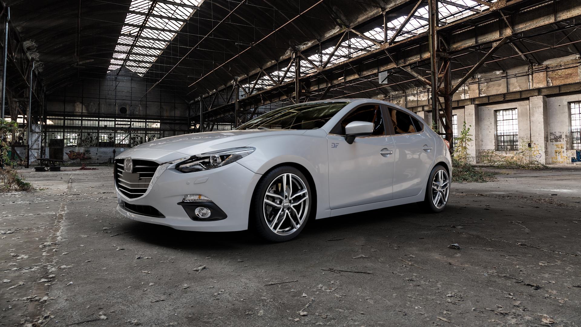 ALUTEC Ikenu graphit frontpoliert Felge mit Reifen grau mehrfarbig in 18Zoll Alufelge auf silbernem Mazda 3 (13-) Stufenheck (BM) Sport (17-) Facelift Fließheck ⬇️ mit 15mm Tieferlegung ⬇️ Industriehalle 1 Camera_000