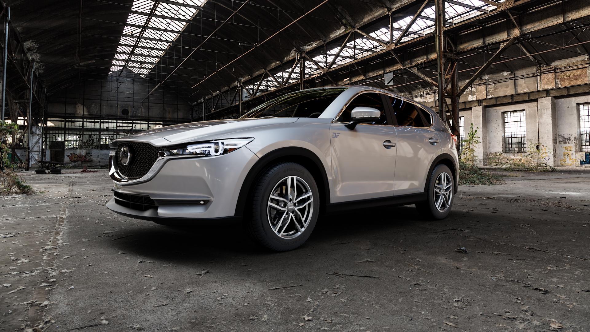 ALUTEC Ikenu graphit frontpoliert Felge mit Reifen grau mehrfarbig in 18Zoll Alufelge auf silbernem Mazda CX-5 Typ KF ⬇️ mit 15mm Tieferlegung ⬇️ Industriehalle 1 Camera_000