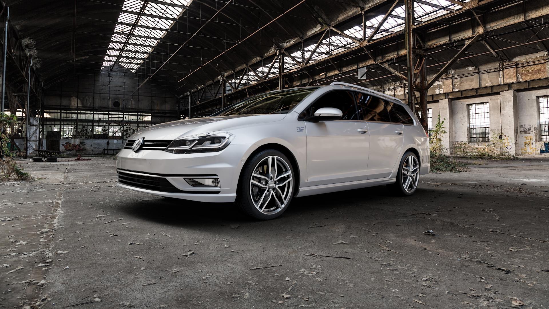 ALUTEC Ikenu graphit frontpoliert Felge mit Reifen grau mehrfarbig in 18Zoll Alufelge auf silbernem Volkswagen (VW) Golf 7 Variant Facelift ⬇️ mit 15mm Tieferlegung ⬇️ Industriehalle 1 Camera_000