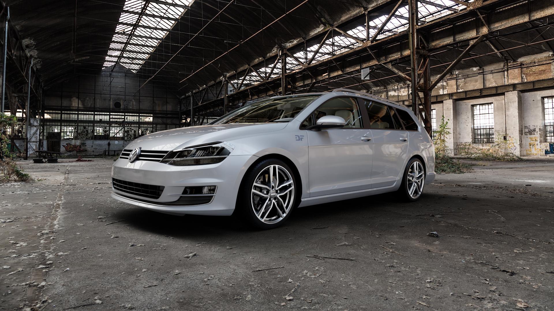 ALUTEC Ikenu graphit frontpoliert Felge mit Reifen grau mehrfarbig in 18Zoll Alufelge auf silbernem Volkswagen (VW) Golf 7 Variant ⬇️ mit 15mm Tieferlegung ⬇️ Industriehalle 1 Camera_000