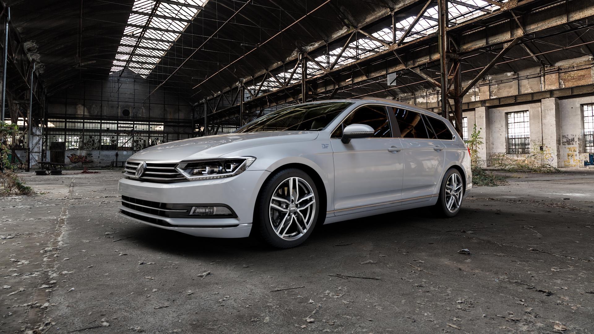 ALUTEC Ikenu graphit frontpoliert Felge mit Reifen grau mehrfarbig in 18Zoll Alufelge auf silbernem Volkswagen (VW) Passat 3C/B8 Limousine Variant ⬇️ mit 15mm Tieferlegung ⬇️ Industriehalle 1 Camera_000