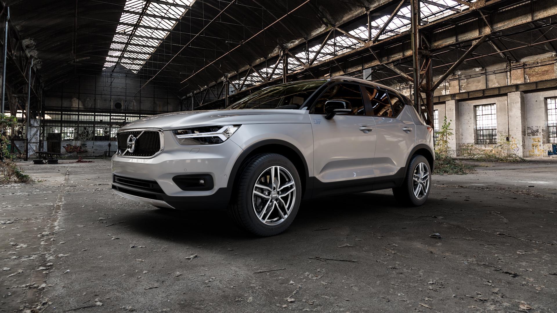 ALUTEC Ikenu graphit frontpoliert Felge mit Reifen grau mehrfarbig in 18Zoll Alufelge auf silbernem Volvo XC40 Typ X ⬇️ mit 15mm Tieferlegung ⬇️ Industriehalle 1 Camera_000
