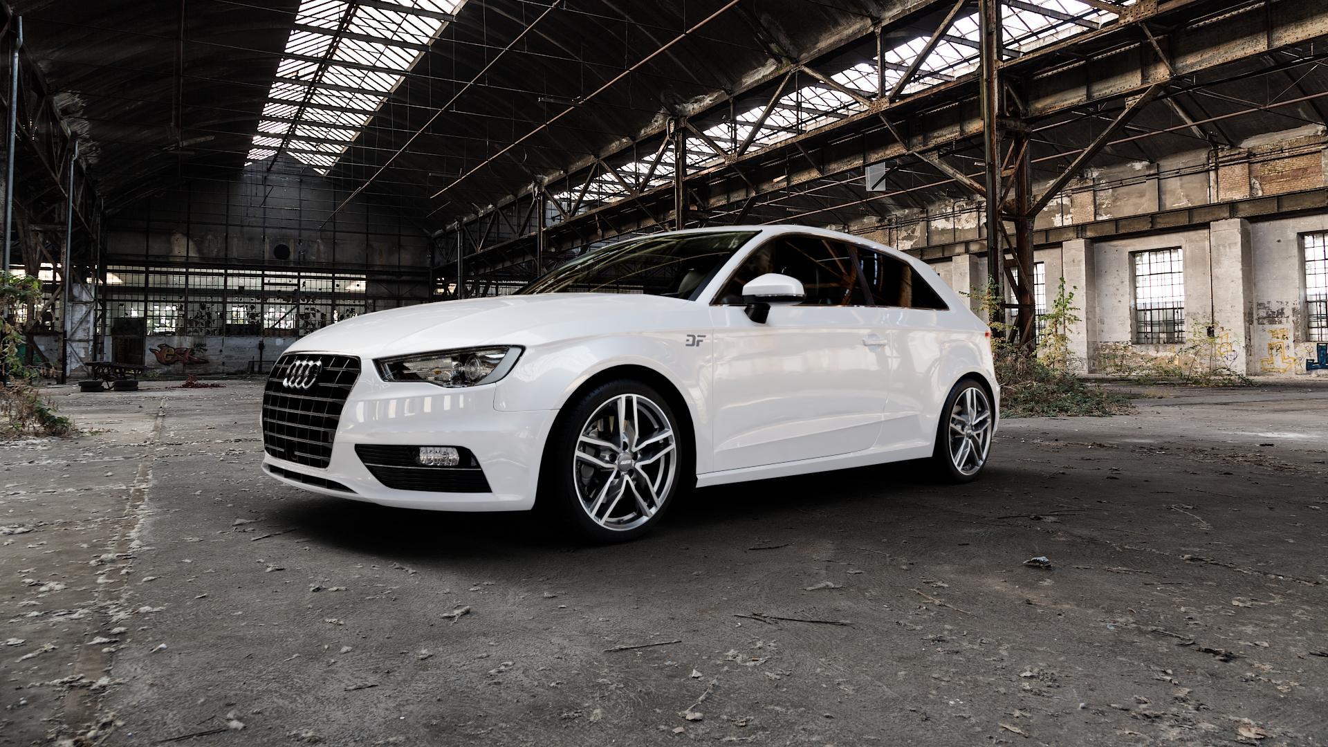 ALUTEC Ikenu graphit frontpoliert Felge mit Reifen grau mehrfarbig in 18Zoll Alufelge auf weissem Audi A3 Typ 8V ⬇️ mit 15mm Tieferlegung ⬇️ Industriehalle 1 Camera_000