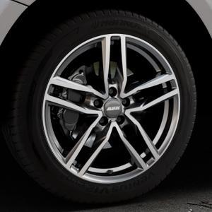 ALUTEC Ikenu graphit frontpoliert Felge mit Reifen grau mehrfarbig in 19Zoll Alufelge auf silbernem Audi Q5 I Typ 8R ⬇️ mit 15mm Tieferlegung ⬇️ Industriehalle 1 Thumbnail