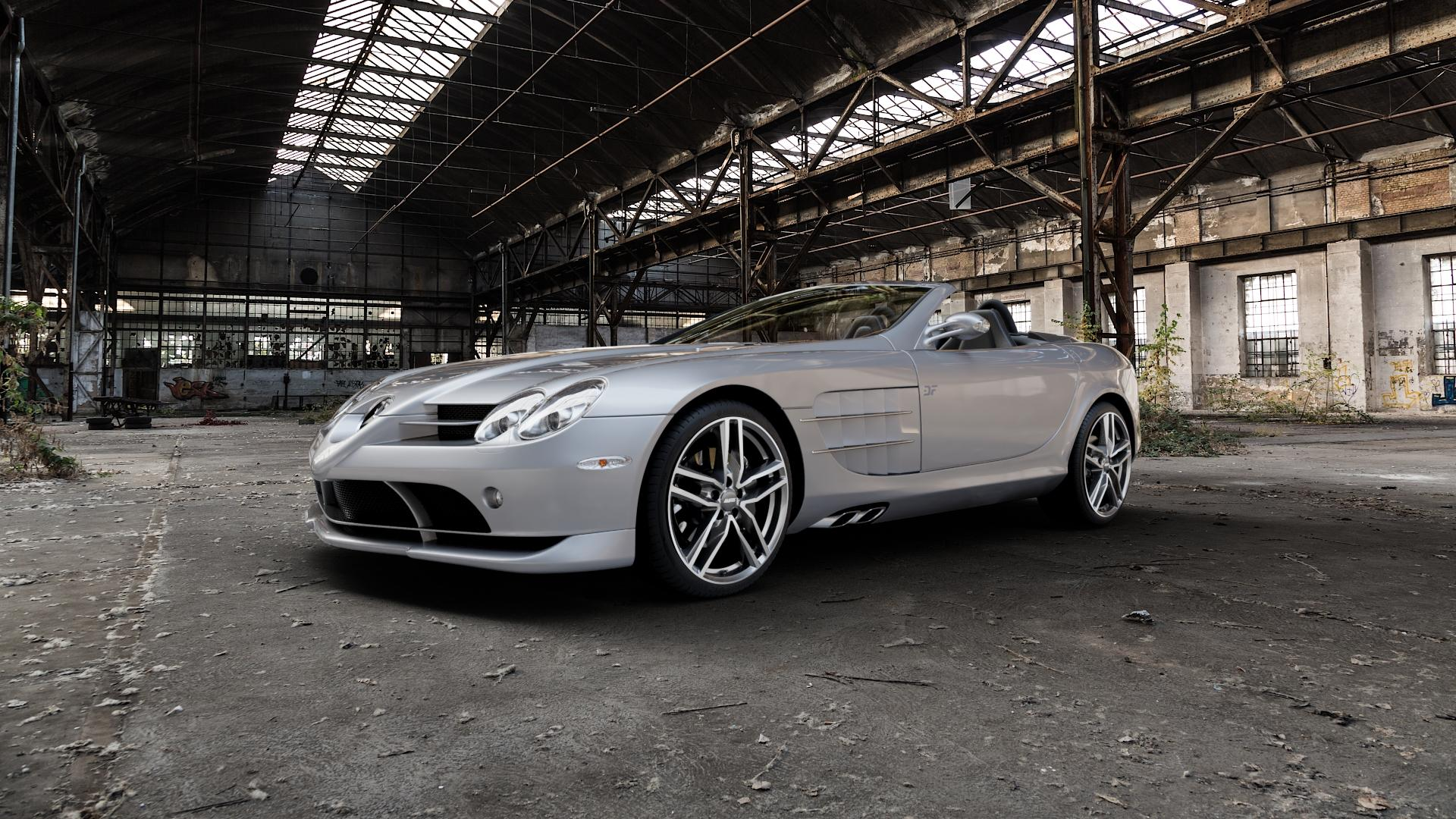 ALUTEC Ikenu graphit frontpoliert Felge mit Reifen grau mehrfarbig in 19Zoll Alufelge auf silbernem Mercedes SLR Typ R199 Roadster 5,4l 460kW (625 PS) 478kW 722 S (650 Stirling Moss Edition ⬇️ mit 15mm Tieferlegung ⬇️ Industriehalle 1 Camera_000