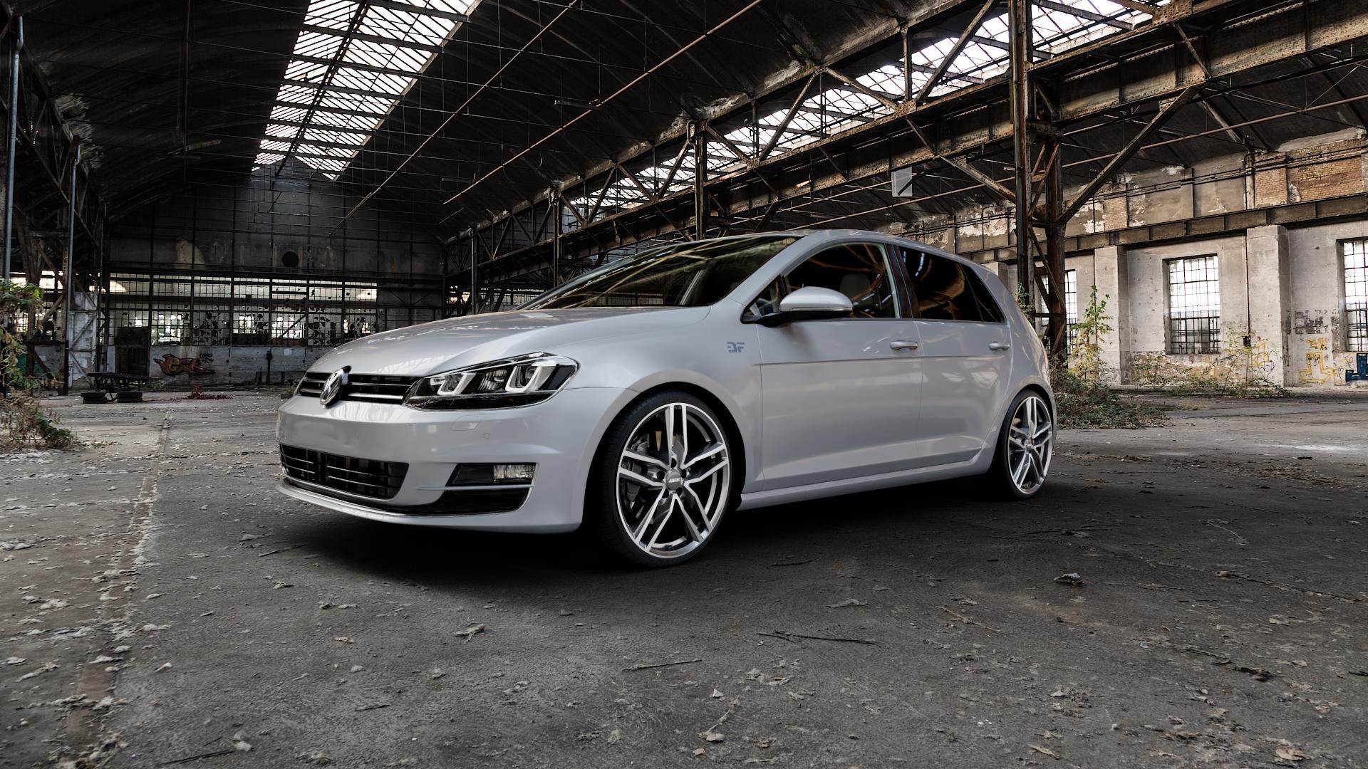 ALUTEC Ikenu graphit frontpoliert Felge mit Reifen grau mehrfarbig in 19Zoll Alufelge auf silbernem Volkswagen (VW) Golf 7 ⬇️ mit 15mm Tieferlegung ⬇️ Industriehalle 1 Camera_000