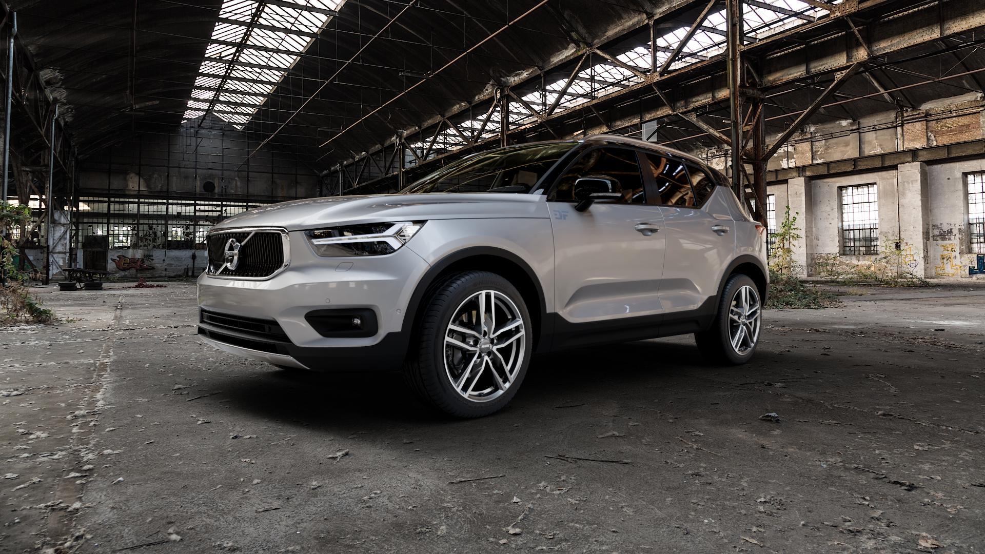 ALUTEC Ikenu graphit frontpoliert Felge mit Reifen grau mehrfarbig in 19Zoll Alufelge auf silbernem Volvo XC40 Typ X ⬇️ mit 15mm Tieferlegung ⬇️ Industriehalle 1 Camera_000